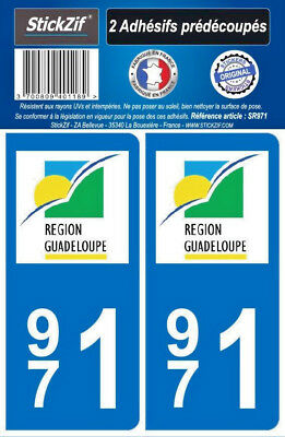2 Stickers Autocollant Departement 971 Guadeloupe Plaque Immatriculation Auto