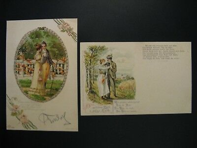 2 x Original vintage postcards in love young people (286) ... years 10