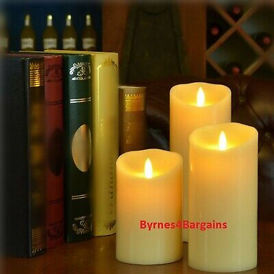 """LUMINARA Flicker Flame Effect mildly scented candle set 5""""7""""9"""" with remote IVORY"""