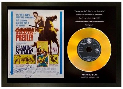 Elvis Presley 'Flaming Star' Signed Photo Gold Disc Memorabilia Collectable Gift