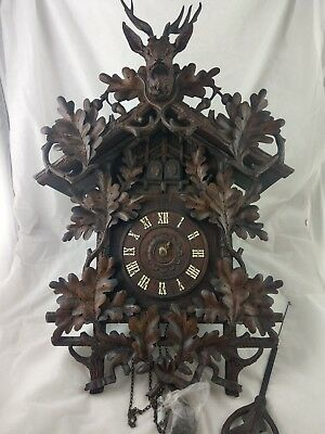 Antique Black Forest GORDIAN HETTICH 1890 Hunter Style Double Door Cuckoo Clock