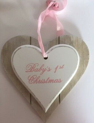 Baby's 1st Christmas Double Heart Plaque Baby Girl Pink Shabby Chic Gift