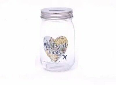 Travel Fund Clear Glass Jar Adventure Holiday Saving Piggy Bank Money Box