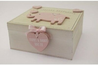 Baby Girl wooden Memories Keepsake Box Vintage Style Christening Gift Sale