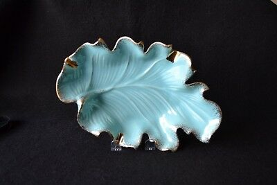 Vintage California Orig. #712 Ceramic Turquoise Leaf Ashtray Trimmed with Gold