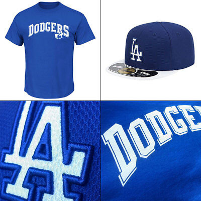 LA Dodgers Word Logo Licenced MLB T shirt PLUS New Era 59FIFTY Cap