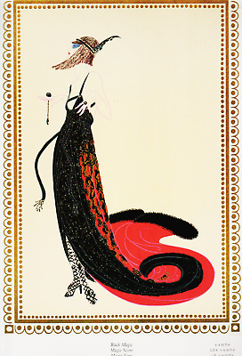 vintage erte art fashion design art deco print erte print black