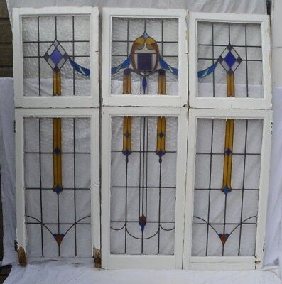 6 piece leaded light stained glass window set. R812. INSURED SHIPPING OPTION