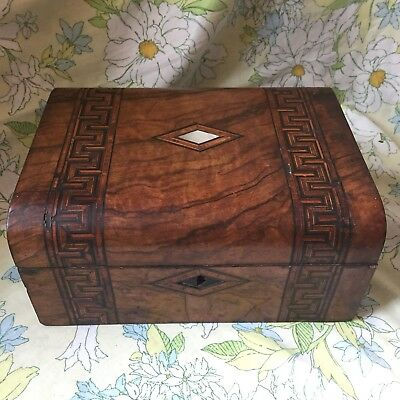 Antique Marquetry Tunbridge Ware Victorian Inlaid Mother of Pearl Jewelry Box