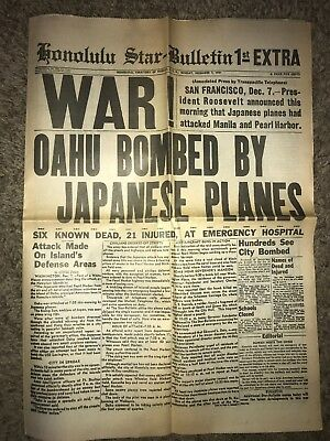 Honolulu Star-Bulletin Newspaper Attack Pearl Harbor Dec 7,1941 WWII 70's Reprin