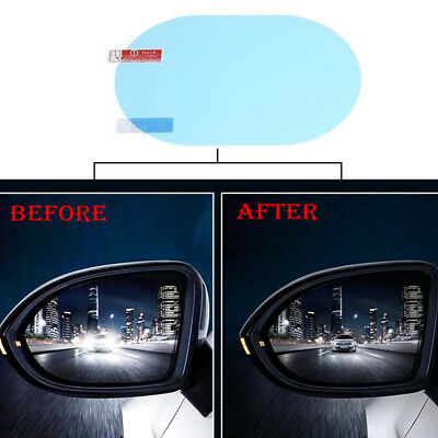 2x Blue Oval Car Anti Fog Water Rainproof Rearview Mirror Protective Film Decal