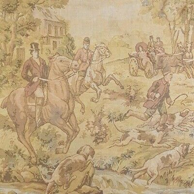 Antique Textile Fabric 1920s Fox Hunt English Hounds Hanging Vintage Home Decor