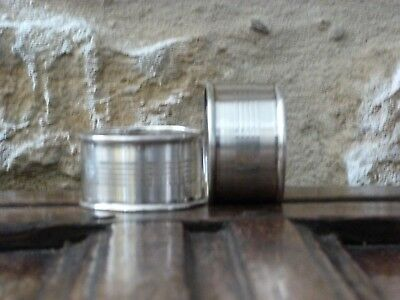 2 George V White Metal Napkin Rings Unmarked Silver 1930's Two Art Deco