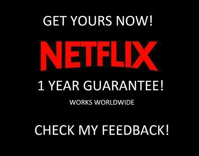 Netflix 1 Year - 12 Month Sub Warranty 4K UHD INSTANT DELIVERY FAST!