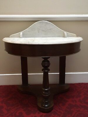 Victorian Mahogany Or Oak Marble Top Washstand Antique Used As Console Table