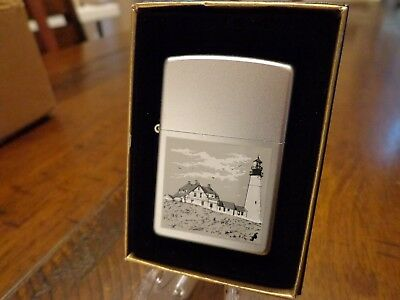 Lighthouse In Grey Zippo Lighter Mint In Box 2002