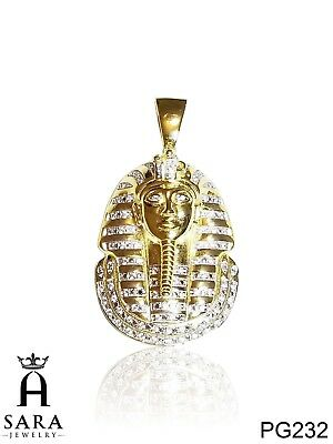 Pharaoh Face Egyptian King 925 Sterling Silver Gold Plated Lab Diamond Pendant