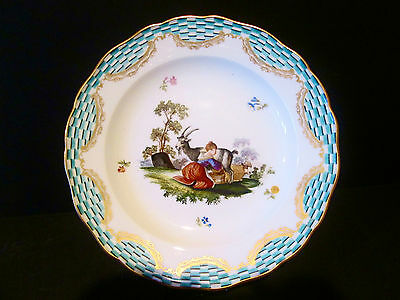 Antique Meissen Hand Painted Porcelain Plate From 19 Cen. Germany Beautiful
