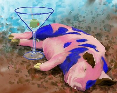8x10 PIG with MARTINI Signed Art PRINT of Digital Oil Painting Artwork by VERN
