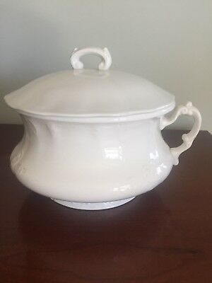 Homer Laughlin Antique Vintage White Ironstone Chamber Pot With Lid And Handle