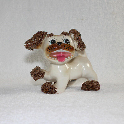 Vintage Wales Japan Spaghetti Poodle Dog Figurine with Teeth 1950s Brown White
