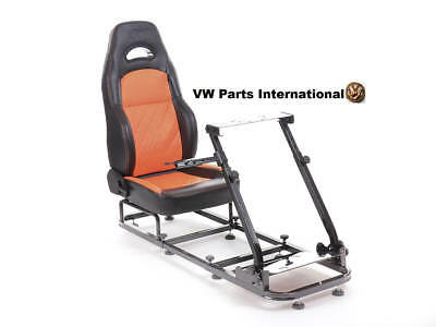 Gaming Racing Frame Chair Bucket Seat Frame PS4 XBox Black/Orange Faux Leather