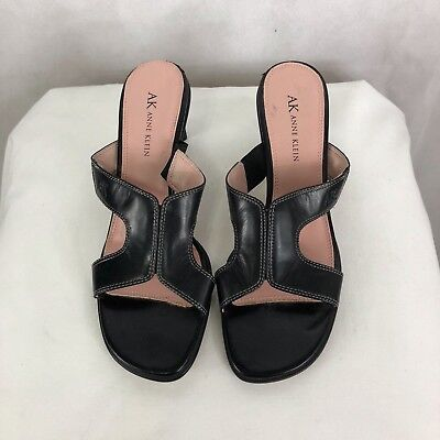894eefc5693 Anne Klein Women s Leather Open Toe Sandal Mule Heel 2.5