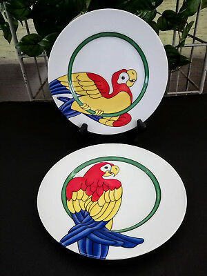 Fitz and Floyd Collector Plates ~ Parrot in Ring ~ 2 Colorful Vintage Plates