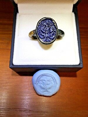 1500 Years Old Antique Sassanian Signet Ring Intaglio Gilt Bronze Ring Persian