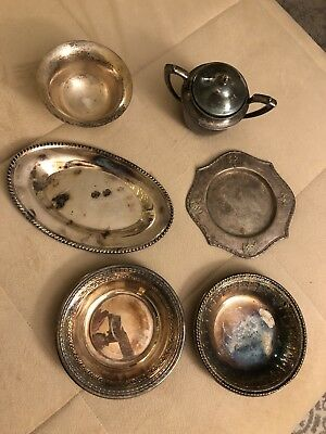 Mixed Vintage Lot Of Silverplate - 7 Pieces - Candy Dishes/Bowls - Serving Plate