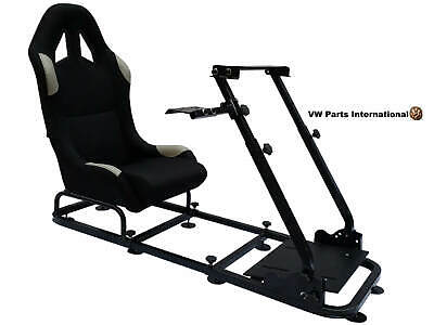 Car Gaming Racing Frame Bucket Seat PC PS4 XBox PS3 Black/Grey Faux Leather Gift