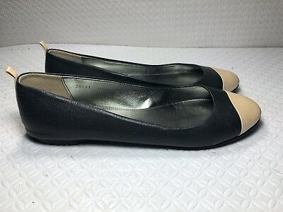 686f797e56a J Crew Women s Black Beige Leather Ballet Flats Made In Italy Size-38