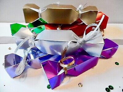 6 or12 SMALL Cracker Gift Boxes Foil Christmas CHECK SIZE 138mm x 28mm x 28mm