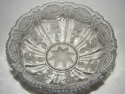 VINTAGE ORNATE ANTIQUE VICTORIAN Early American Pressed Glass Bowl Eapg