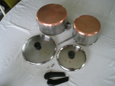 Vtg Revere Ware Copper Clad 4qt Stock Pot & 3qt Sauce Pan Metal Handle Riverside