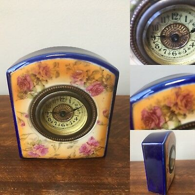 Victorian ceramic mantel clock - working - with cobalt blue and floral design