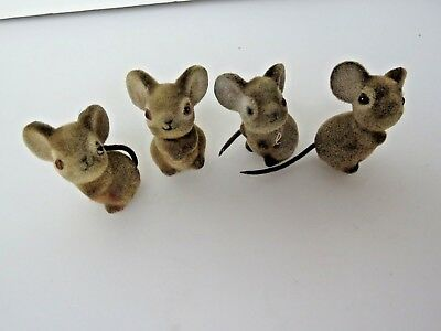 4 Vintage Mini Gray Flocked Mouse Figure Lot Realistic Look Toy Animals  #9610
