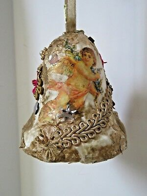 "Vintage Beaded Sequin Christmas Ornament Bell 3.5"" Victorian Cupid #9574"
