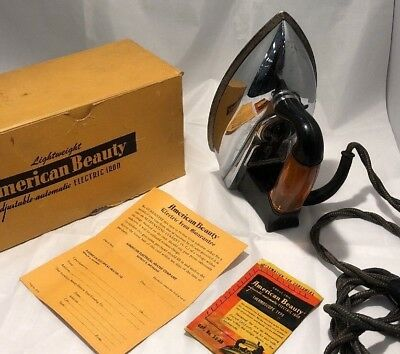 American Beauty Electric Iron with Box, warranty and Booklet 1940s