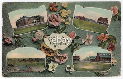RPPC Multi-View, Fort Russell, Wyoming, 1916 Color REAL Post Card