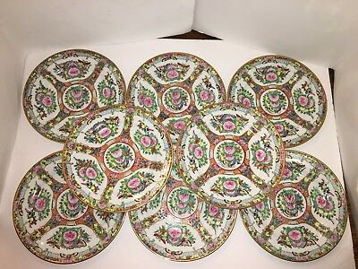 """Vintage 8 Chinese Hand-Painted  Rose Medallion Porcelain 8"""" Plates"""