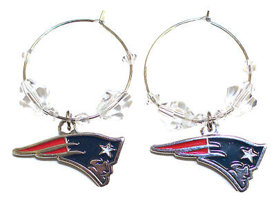NEW ENGLAND PATRIOTS NFL Clear Beads Hoop Dangle Earrings