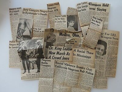 18 Newspaper Clippings Negro Mob Racism Racial Violence Dr. King Gun Battle 9217