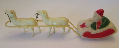 Vintage Celluloid Santa Claus Sleigh And Reindeer  Usa