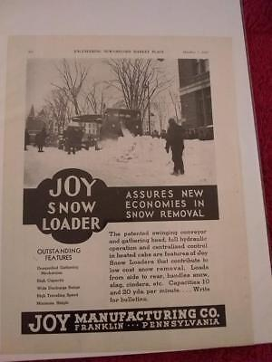 Vintage 1937 Joy Manufacturing Co. Ad Advertisement:  Vtg. Snow Loader, Removal