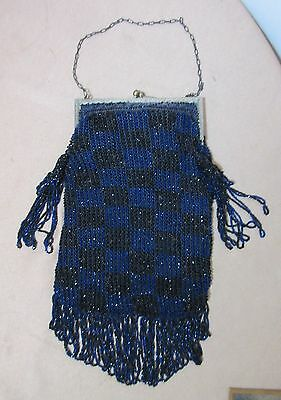 very large antique ornate handmade blue black metal beaded purse clutch bag