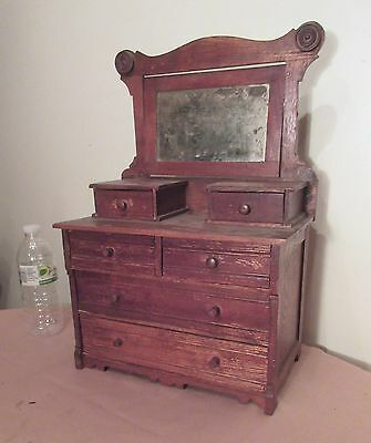 antique handmade wood large salesman sample miniature vanity dresser furniture