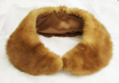 Mink collar vintage woman's glamour lighter brown full lining replaced