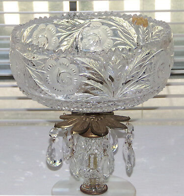 Vintage West Germany HandCut Lead Crystal Compote Fruit Candy Display Bowl