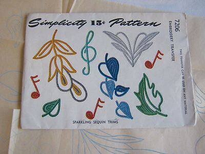 Original 1945 Simplicity Embroidery Transfer Pattern #7206 for Sequins